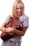 Mujer rubia con el bolso aislado. #3. Imagen de archivo libre de regalías