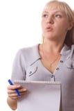 Mujer rubia con el pensamiento de la pista de nota. Aislado. #4 Imagen de archivo libre de regalías