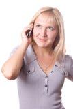 Mujer rubia con el teléfono celular aislado. #2 Fotografía de archivo libre de regalías