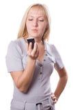 Mujer rubia con el teléfono celular aislado. #3 fotos de archivo