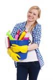 Mujer rubia con la materia de la limpieza Foto de archivo libre de regalías