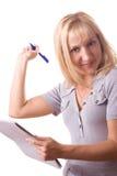 Mujer rubia con la pista de nota. Aislado. #13 Fotografía de archivo