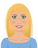 Mujer rubia con los ojos verdes Imágenes de archivo libres de regalías