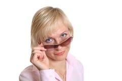 Mujer rubia con los vidrios Imágenes de archivo libres de regalías