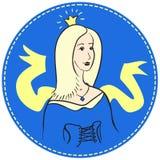 Mujer rubia con una corona en su cabeza Foto de archivo