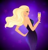Mujer rubia de la elegancia con champán stock de ilustración