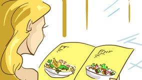 Mujer rubia de la historieta en un restaurante chino que lee el menú imagenes de archivo