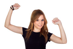 Mujer rubia del ganador con la camisa negra Foto de archivo libre de regalías