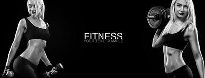 Mujer rubia deportiva y apta con pesa de gimnasia que ejercita en el fondo negro para permanecer apto Motivación del entrenamient fotografía de archivo
