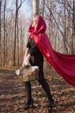 Mujer rubia en bosque imagen de archivo