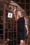 Mujer rubia en jaula Fotografía de archivo