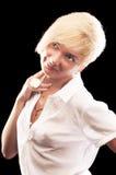 Mujer rubia en la camisa blanca Fotos de archivo