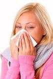 Mujer rubia enferma Foto de archivo libre de regalías