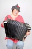 Mujer con el acordeón fotografía de archivo
