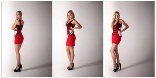Mujer rubia hermosa en vestido rojo Fotos de archivo