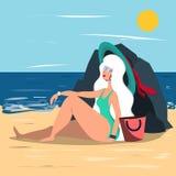 Mujer rubia hermosa que descansa sobre la playa en un día de verano caliente Ejemplo en estilo plano ilustración del vector