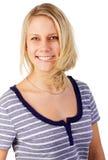 Mujer rubia joven alegre Imagen de archivo libre de regalías