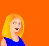Mujer rubia joven con un fondo anaranjado Fotografía de archivo libre de regalías