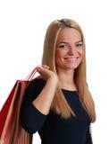 Mujer con el bolso de compras Fotografía de archivo