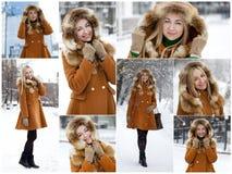 Mujer rubia joven feliz en el fondo de una calle del invierno Imagenes de archivo