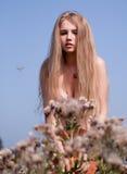Mujer rubia joven hermosa Imagen de archivo libre de regalías