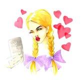 Mujer rubia joven que toma la foto de Selfie Fotografía de archivo