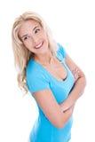 Mujer rubia sonriente atractiva aislada Imágenes de archivo libres de regalías