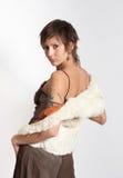 Mujer salvaje joven en el fondo blanco Imagenes de archivo
