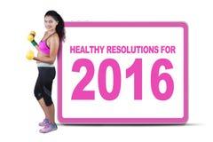 Mujer sana con la resolución para 2016 Imagen de archivo