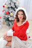 Mujer Santa Claus para la Navidad Imagen de archivo libre de regalías
