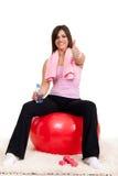 Mujer satisfecha después de entrenar imagen de archivo