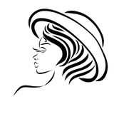 Mujer sensual joven en un sombrero de los ladys ilustración del vector