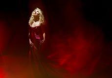 Mujer sensual, señora en el rojo, el día de tarjeta del día de San Valentín Fotografía de archivo
