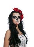 Mujer seria en el día de la máscara muerta aislada Fotos de archivo