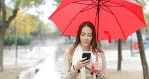 Mujer seria que comprueba el teléfono debajo de la lluvia