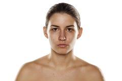 Mujer sin maquillaje Fotos de archivo