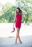Mujer sin sus zapatos Imagen de archivo