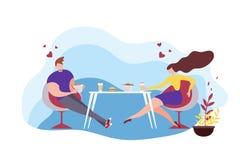 Mujer Sit Table Eating Asian Food del hombre de la historieta libre illustration