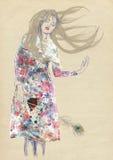 Mujer soñadora libre illustration