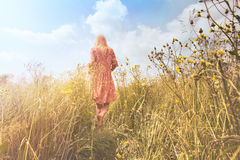 Mujer soñadora que camina en naturaleza hacia el sol fotografía de archivo