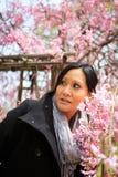 Mujer sonriente bajo cerezo imagenes de archivo