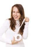 Mujer sonriente con el rodillo del papel higiénico Foto de archivo