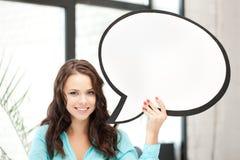 Mujer sonriente con la burbuja en blanco del texto Foto de archivo libre de regalías