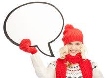 Mujer sonriente con la burbuja en blanco del texto Imágenes de archivo libres de regalías