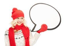 Mujer sonriente con la burbuja en blanco del texto Imagenes de archivo