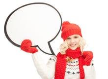 Mujer sonriente con la burbuja en blanco del texto Fotos de archivo libres de regalías