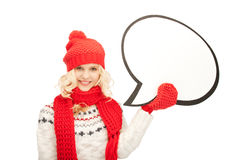 Mujer sonriente con la burbuja en blanco del texto Fotografía de archivo libre de regalías