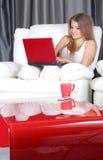 Mujer sonriente con la computadora portátil en el país Fotografía de archivo
