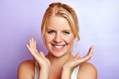 Mujer sonriente con la piel hermosa Imagen de archivo