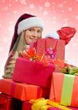 Mujer sonriente de la Navidad Foto de archivo libre de regalías